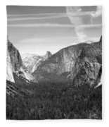 Tunnel View Yosemite B And W Fleece Blanket