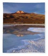 Tunupa Volcano Reflected In Salar De Uyuni At Twilight Bolivia Fleece Blanket