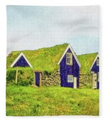 Turf Huts In Skaftafell Fleece Blanket