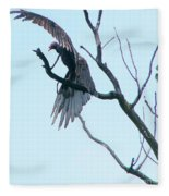 Turkey Vulture Drying Wings After Rain     Indiana Summer Fleece Blanket