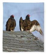 Turkey Vultures On Roof Fleece Blanket