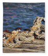 Turnstones At The Harbour Fleece Blanket