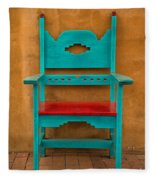Turquoise And Red Chair Fleece Blanket