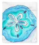 Turquoise Blue Sand Dollar Shells Fleece Blanket
