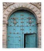 Turquoise Cusco Church Door Fleece Blanket