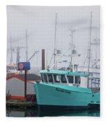 Turquoise Fishing Boat Fleece Blanket