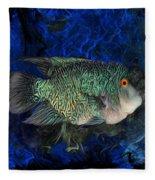 Turquoise Texas Cichlid  Fleece Blanket