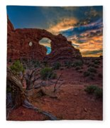 Turret Arch At Sunset Fleece Blanket