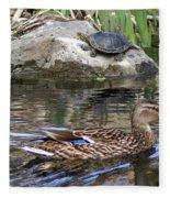 Turtle And Duck Fleece Blanket