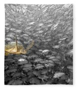 Turtle And Fish School Fleece Blanket