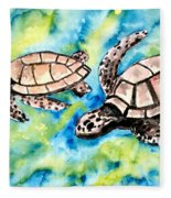 Turtle Love Pair Of Sea Turtles Fleece Blanket