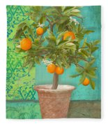 Tuscan Orange Topiary - Damask Pattern 2 Fleece Blanket