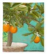 Tuscan Orange Topiary - Damask Pattern 3 Fleece Blanket