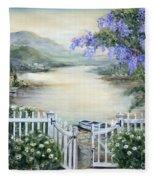 Tuscan Pond And Wisteria Fleece Blanket