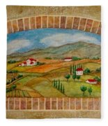 Tuscan Scene Brick Window Fleece Blanket