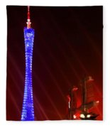 Tv Tower At Night Fleece Blanket