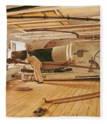 Twenty-seven Pound Cannon On A Battleship Fleece Blanket