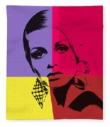 Twiggy Pop Art 1 Fleece Blanket