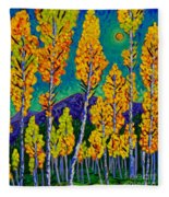 Twilight Aspens Fleece Blanket