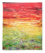 Twilight Bounds Softly Forth On The Wildflowers Fleece Blanket