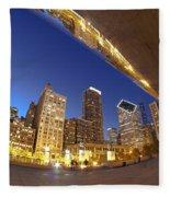 Twilight Chicago Skyline  Fleece Blanket