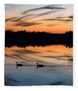 Twilight Lake Swim New Jersey Fleece Blanket