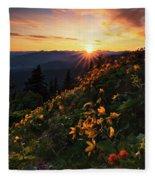 Twilight Of The Balsamroot Fleece Blanket