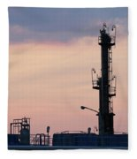 Twilight Over Petrochemical Plant Fleece Blanket