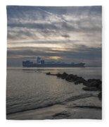 Twilight Steaming Into Charleston Harbor Fleece Blanket