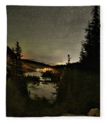 Twin Lakes Night Panorama Fleece Blanket