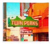 Twin Peaks Gay Bar In San Francisco . Painterly Style Fleece Blanket