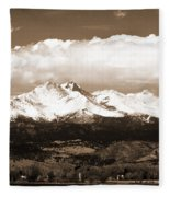 Twin Peaks In Sepia  Fleece Blanket