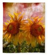Twin Sunflowers Fleece Blanket
