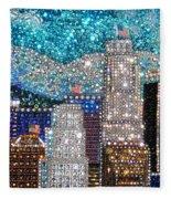 Los Angeles. Rhinestone Mosaic Beadwork Mix Fleece Blanket