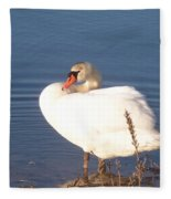 Twisted  White Swan Fleece Blanket