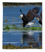 Two American Bald Eagle Touching Down At Low Tide Fleece Blanket