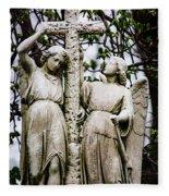 Two Angels With Cross Fleece Blanket