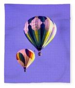 Two Balloons In The Clear Blue Sky  Fleece Blanket