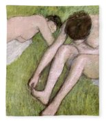 Two Bathers On The Grass Fleece Blanket