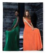 Two Beautiful Women In Elegant Long Dresses Fleece Blanket