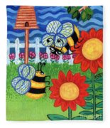 Two Bees With Red Flowers Fleece Blanket