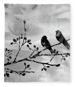 Two Birds-black Fleece Blanket