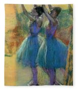 Two Blue Dancers Fleece Blanket by Edgar Degas