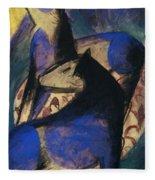 Two Blue Horses 1913 Fleece Blanket