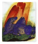 Two Blue Horses In Front Of A Red Roc 1913 Fleece Blanket