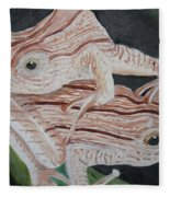 Two Brown Striped Frogs Fleece Blanket
