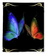 Two Butterflys -4 Fleece Blanket