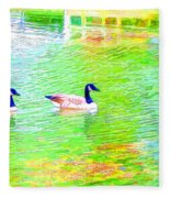Two Canadian Geese In The Water Fleece Blanket