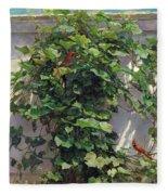 Two Cardinals On The Vine Tree Fleece Blanket