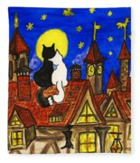 Two Cats On The Roof Fleece Blanket